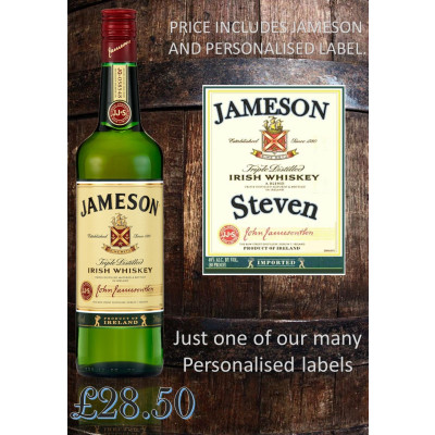 Jameson Irish Whiskey personalised label