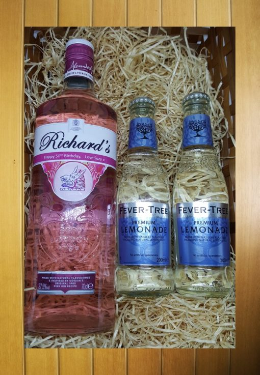 Pink gin and tonic hamper with personalised label